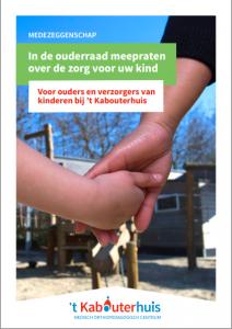 Flyer over de meepraten in de ouderraad van 't Kabouterhuis