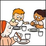 Tekening van Tim, en ander kind van 't Kabouterhuis en Ilona een broodje eet.