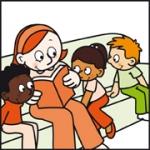 Tekening van Tim, Lisa en Angelo die worden voorgelezen door een medewerker van MOC 't Kabouterhuis.