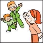 Tekening van Tim en zijn vader die samen weer naar huis gaan. Ze zwaaien naar Ilona van 't Kabouterhuis.